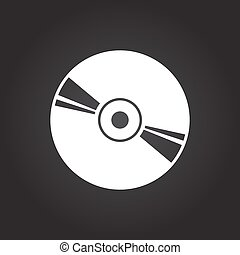 Compact disc icon - Vector flat white compact disc icon on...