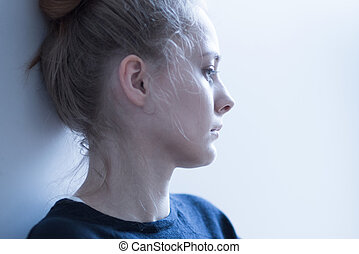 Female with mental problems - Portrait of a young female...