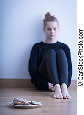 Fear of gaining weight - Picture of a girl with fear of...