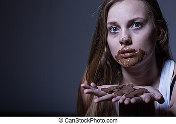 Skinny girl with dirty mouth - Photo of sick skinny girl...