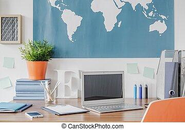 Laptop on the desk in the children room
