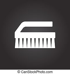 Cleaning brush - Vector flat white cleaning brush icon on...