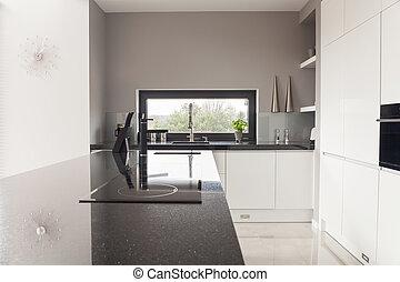 Modern design kitchen - Photo of modern design black and...