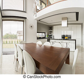 Dining area and open kitchen - Photo of dining area and open...