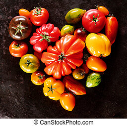 Heart shape of colorful mixed cultivars of tomato - Heart...