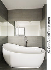Large stylish bathtub - Close up of large stylish bathtub in...