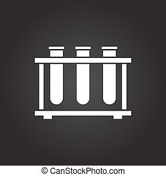 test-tube - Vector flat white test-tube icon on dark...