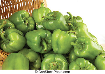 green pepper - spilled out of the basket green peppers