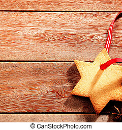 Delicious crispy Christmas cookie in the shape of a star...