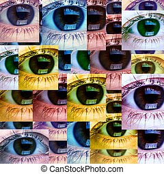 Beautiful woman eye collage.