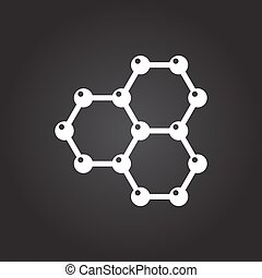 Graphene icon - Vector flat white graphene icon on dark...