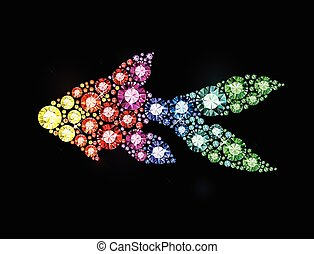 Gem Fish - Fish made of colored gems