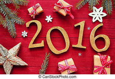 2016 New Year And Christmas Design - Gold 2016 for New Year...