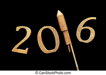 Gold 3D 2016 for New Year Concept Against Black - Conceptual...