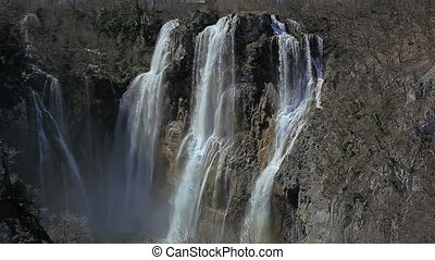 Plitvice lakes national park in Croatia - Waterfall and...