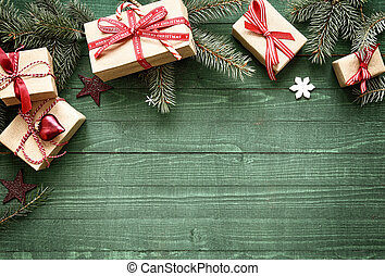 Pretty Christmas holiday border with gifts - Pretty...