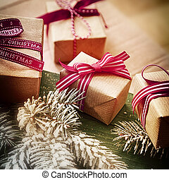 Christmas gift background with four gift-wrapped presents...