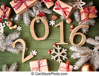 Christmas or New Year Decors on Table for 2016 - Top View of...