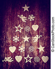 Decorative Christmas tree background on wood with an...