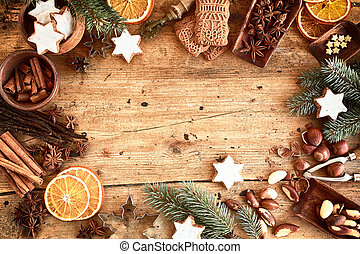 Traditional Xmas frame with spices and nuts - Traditional...