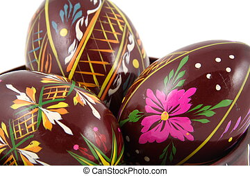 Three Easter Paited Eggs close-up