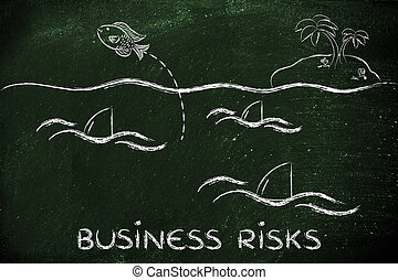 small fish jumpying out of a sea full of sharks, concept of preventing business risks
