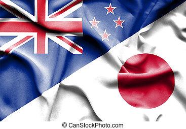 waving, bandeira, de, Japão, e, Novo, Zelândia