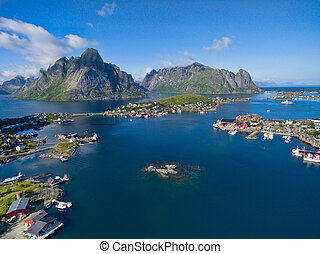 Aerial Reine - Breathtaking aerial view of fishing town...