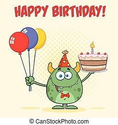 Green Monster Holding Birthday Cake