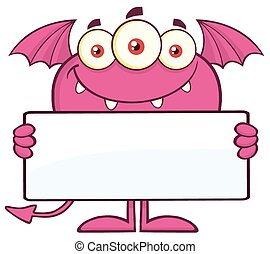 Pink Monster Holding A Blank Sign