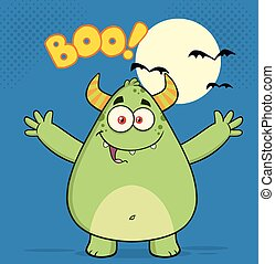 Green Monster With Open Arms - Happy Horned Green Monster...