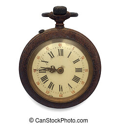 old pocket watch isolated with clipping path - old pocket...