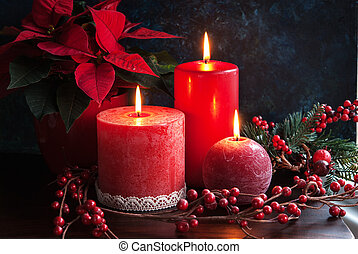 Christmas candles - Christmas decor wirh red candles and...