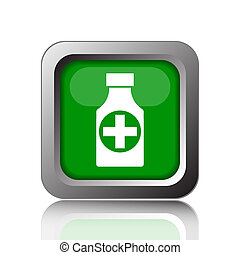Pills bottle icon Internet button on black background