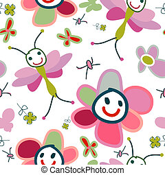 background for kids - funny flowers, background for kids