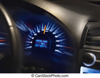 speedometer on dashboard of car shows excess of speed