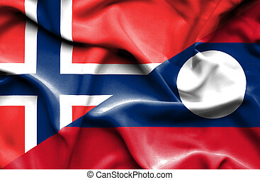 Waving flag of Laos and Norway