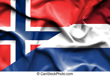 Waving flag of Netherlands and Norway
