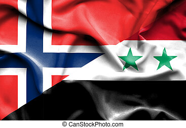 Waving flag of Syria and Norway