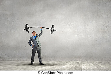 Strong and powerful - Confident businessman lifting above...