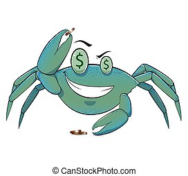 Penny Crab - A highly detailed illustration of a smiling...