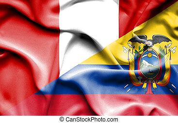 Waving flag of Ecuador and Peru