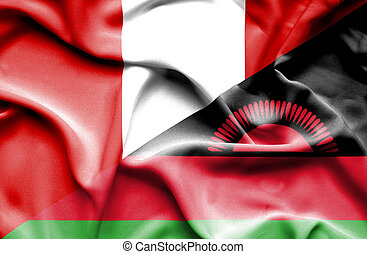 Waving flag of Malawi and Peru