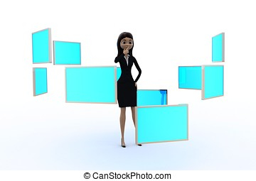 3d woman with holograph screens concept - 3d woman with many...