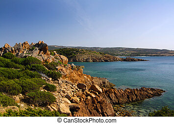 Sarninian bay - Beautiful bay of red rocks on Sardinia near...