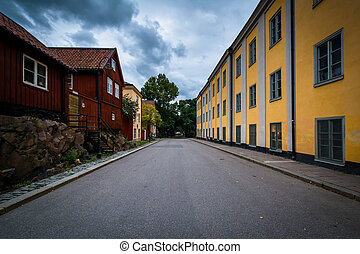 Colorful buildings at Nytorget, in Sodermalm, Stockholm,...