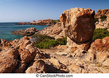 Sardinian bay - Beautiful bay of red rocks on Sardinia near...