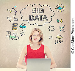 Big Data concept with young woman working on laptop - Big...