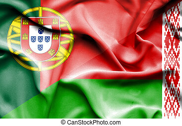 Waving flag of Belarus and Portugal