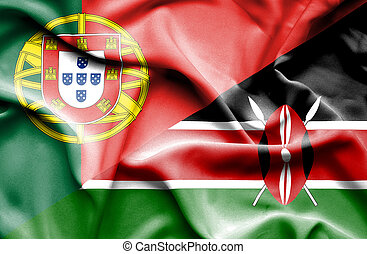 Waving flag of Kenya and Portugal